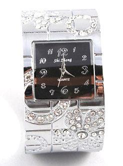 WW128 Clear Crystal Chunky Fashion Cuff Watch