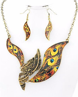 NP1131 Peacock Print Topaz Rhinestones Antique Gold Necklace Set
