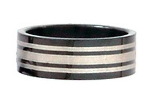 SSR10 - 8mm Unisex Black Titanium Silver Stripes Ring