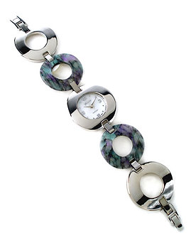 WW102 Circle Abalone Stainless Steel Links Watch