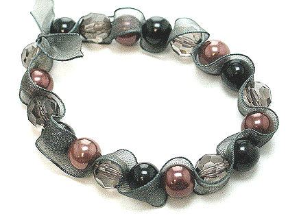 BR17 Black Ribbon Wrapped Copper Pearl Stretch Bracelet