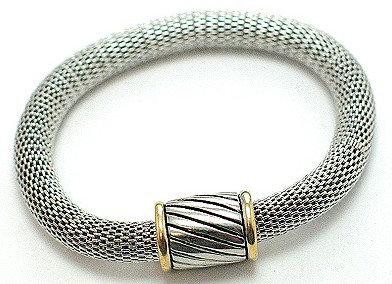 BR33 Magnetic Fastening Barrel Silver Mesh Bracelet