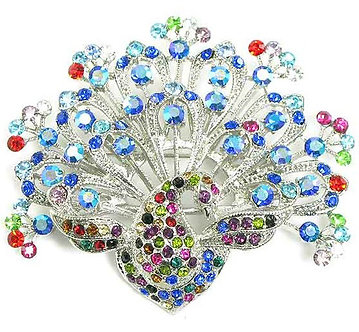 BP34 Stunning Colorful Crystal Paved Peacock Brooch