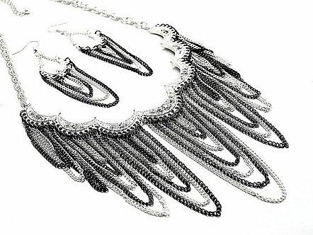 NP931 Black Silver Multichain CZ Cascade Drop Necklace Set