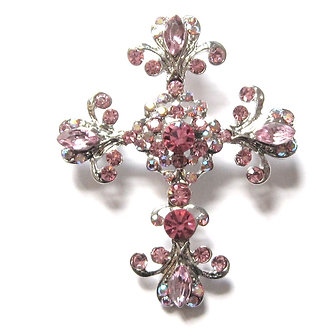 BP09 Exquisite Pink - Clear Crystal Paved Cross Brooch