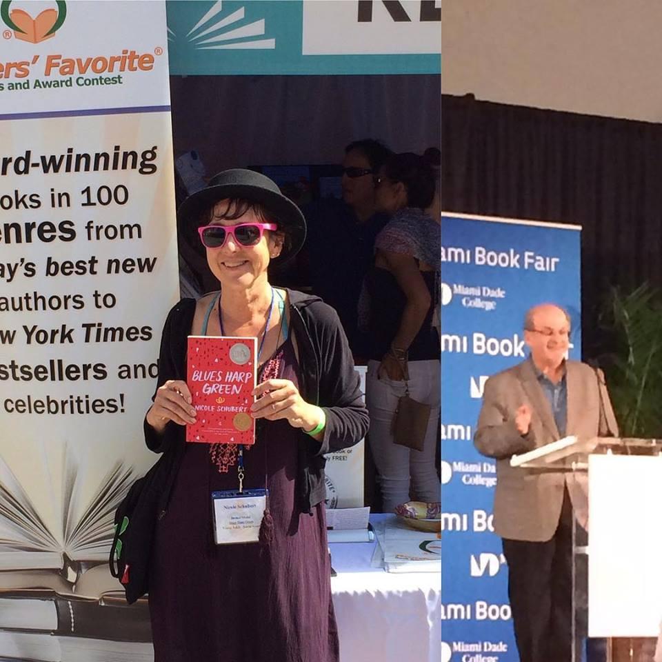 Nicole Schubert, Salman Rushdie at Miami Book Fair