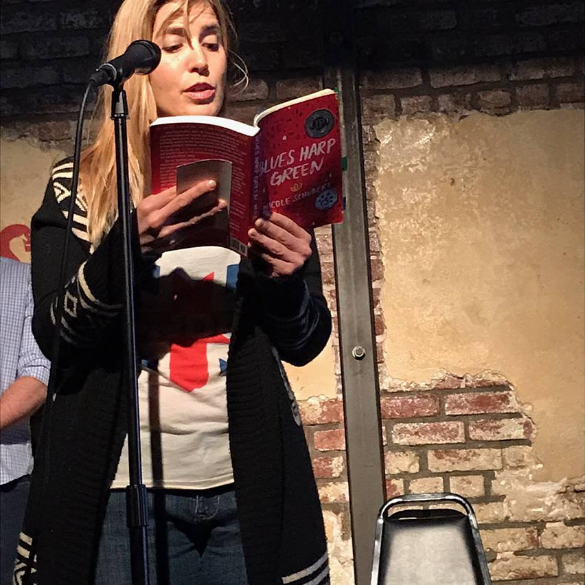 Amelia Clover reads from Blues Harp Green at book launch at Westside Comedy Theater, Santa Monica
