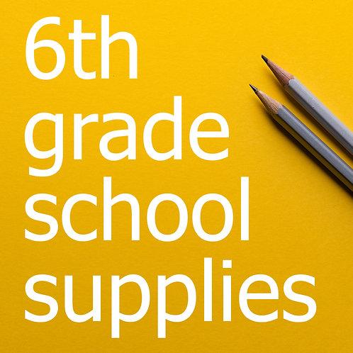 6th Grade Prepackaged School Supplies 2021-22