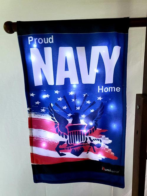 Solar Powered Proud Navy Home Garden Flag