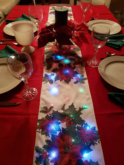 White Settia Light UP Table Runner
