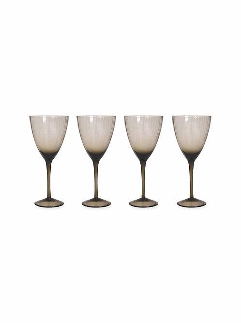 Smokey Grey Wine Glasses x4