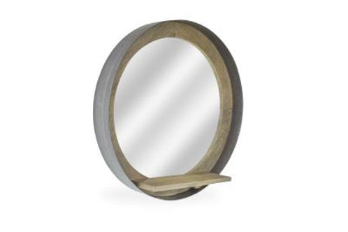 Round Mirror With Shelf