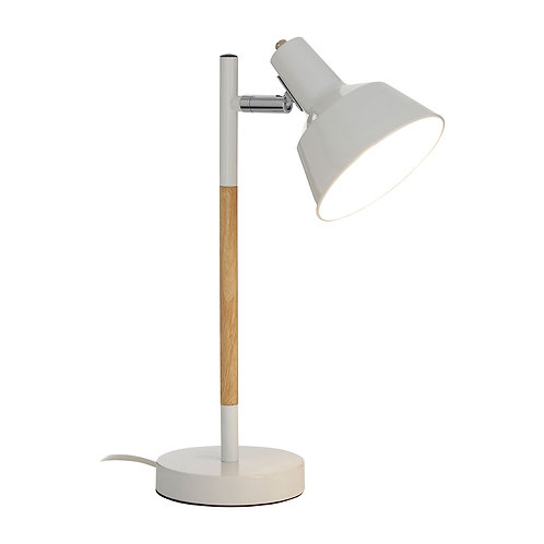 Bryson White Metal/Wood Lamp