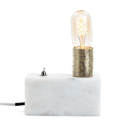 White Marble Block Coil Lamp
