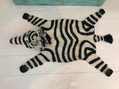 Handmade Wool Zebra Rug
