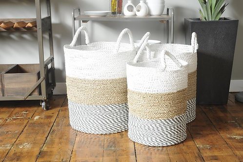Tri Colour Baskets - Set of 3