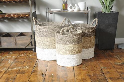 Neutral Tri Colour Baskets - Set of 3