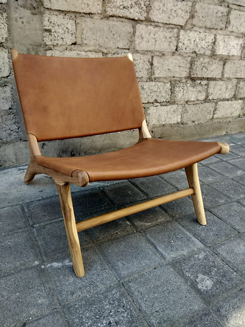 Teak and Leather Chair - Tan