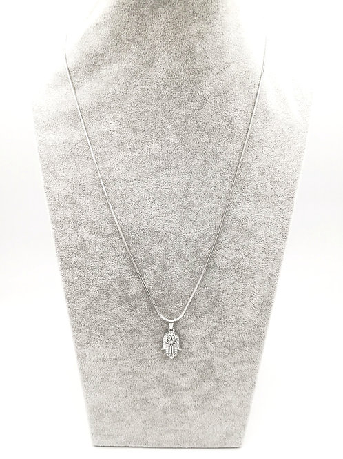 Crystal Flourishing Hamsa Silver Plated Necklace