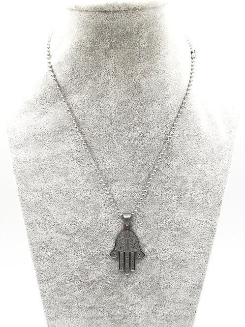 Etched Hamsa Silver Plated Necklace