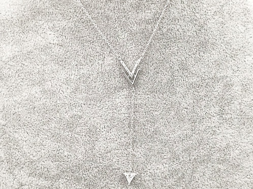Double V Deep Silver Plated Necklace