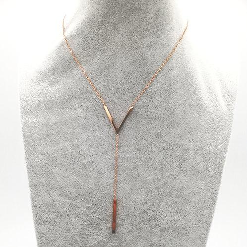 V Deep Rosegold Plated Necklace
