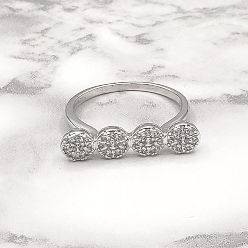 Dazzled Moon White Gold-Plated Ring