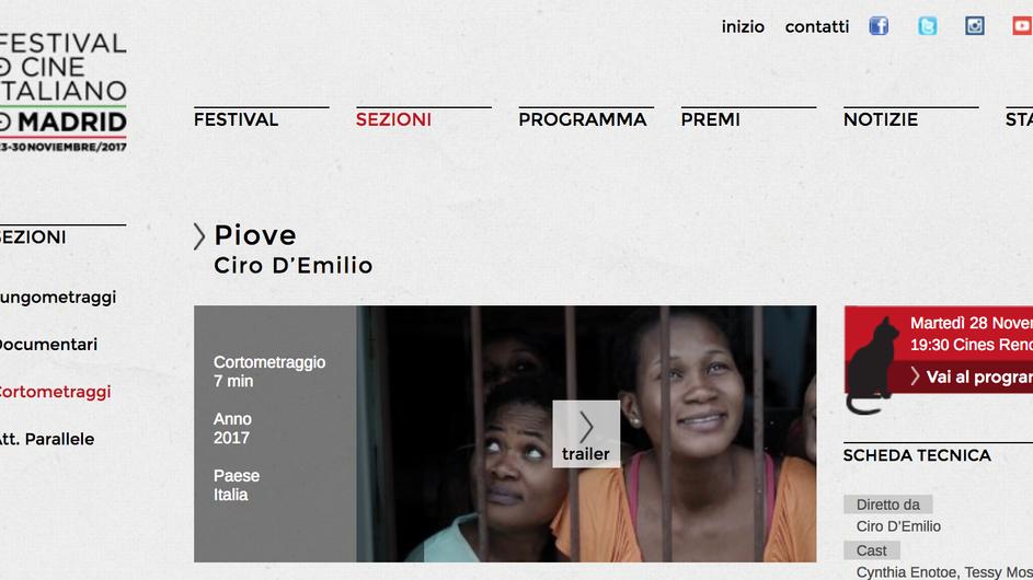 """""""Piove"""" tra i 6 corti italiani del Festival de Cine Italiano de Madrid 2017"""