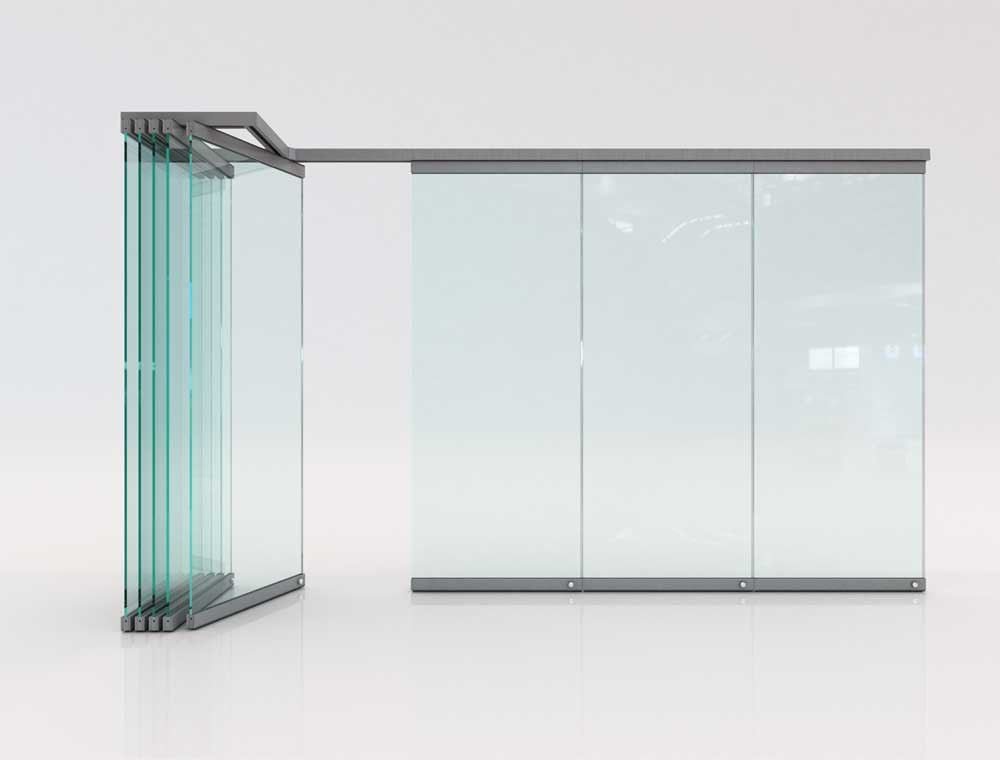 Movable glass partitions are also designed to slide along a connected ceiling track rail system. Its has no floor tracks, and the glass panels are fixed by floor pins when they are extended to keep them safe and steady. It has top and bottom aluminium/stainless hardware clip to hold its tempered glass. It has a sound transmission coefficient of 15Db and 44Db for double glazed framed.