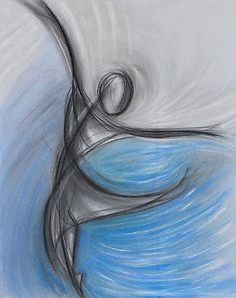 Dancer on Blue & Gray