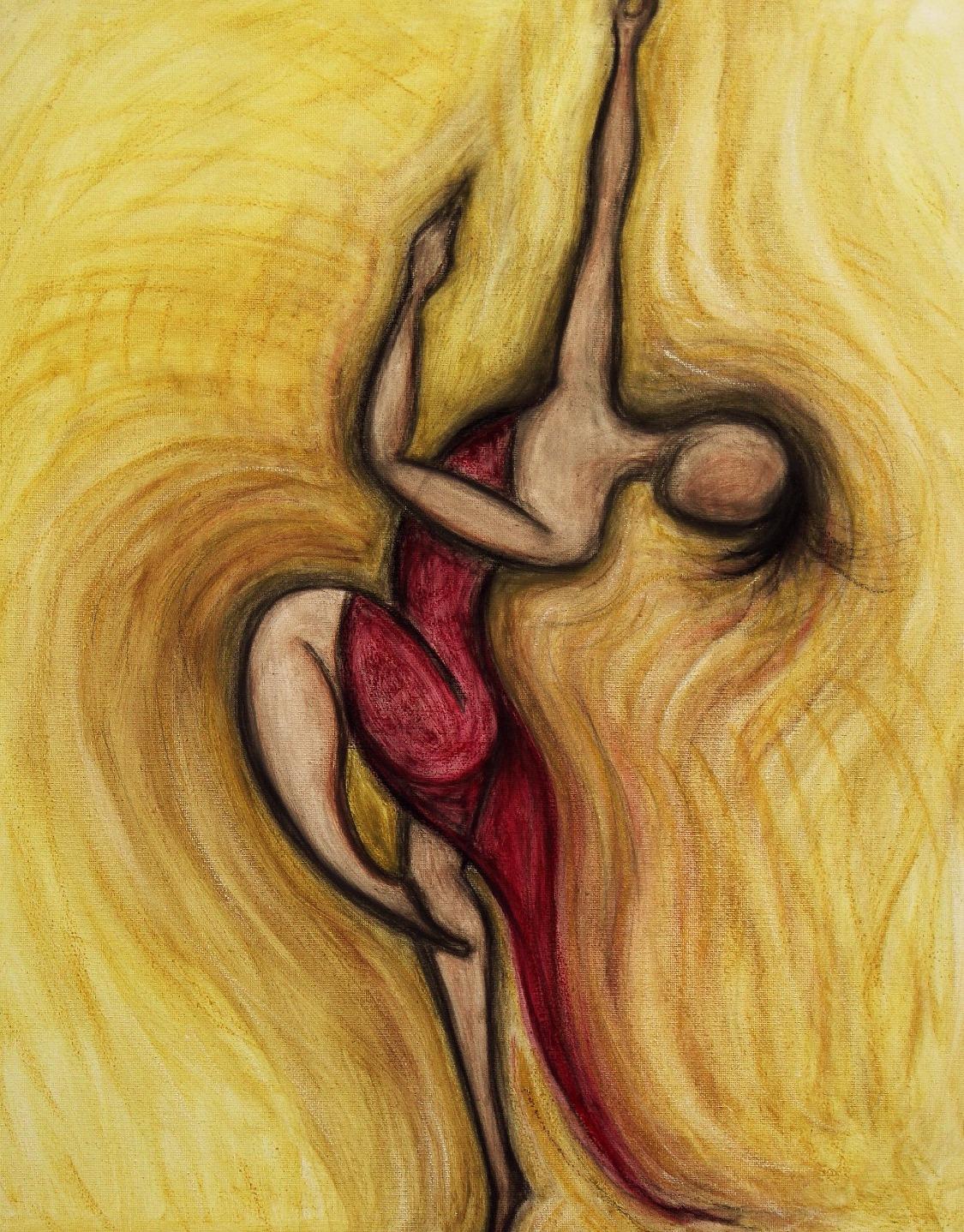 dancer in fiery red