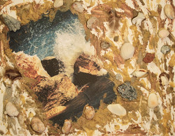 splashes of water with shells & sand