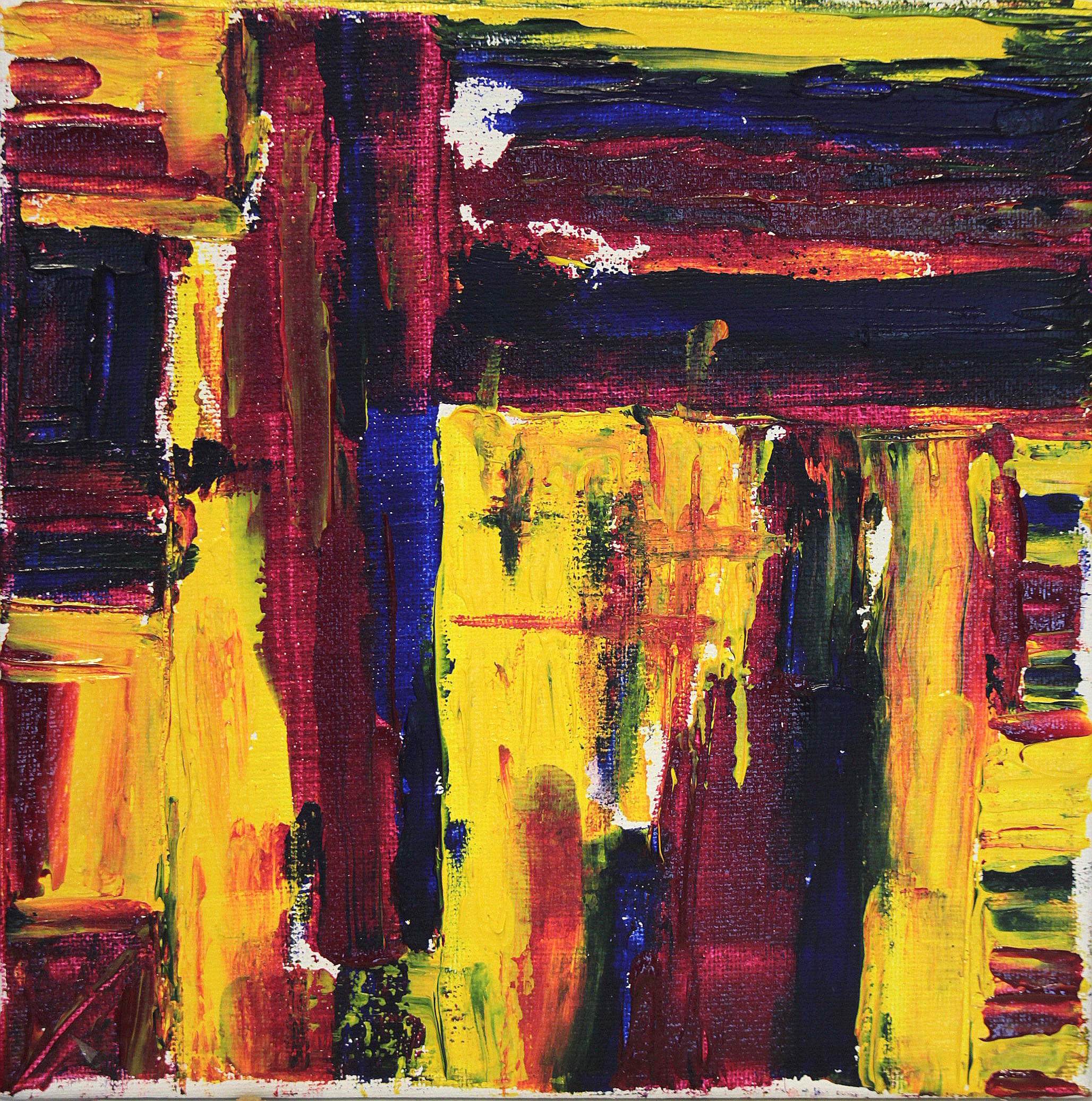 abstract in yellow red and blue
