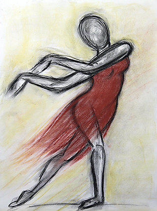 Charcoal Dancer in Pastels