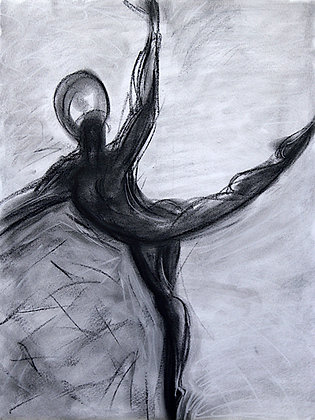 Charcoal Dancer in Gray and Black