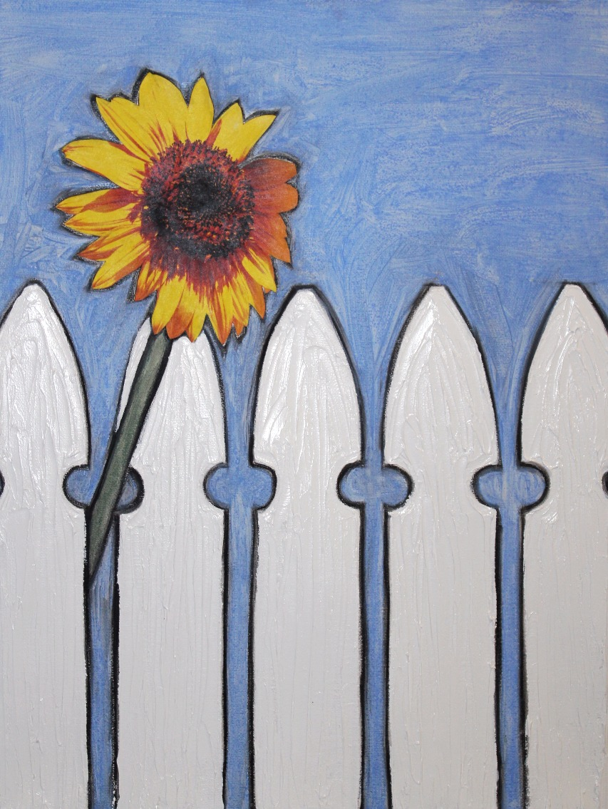 Sunflower & Picket Fence