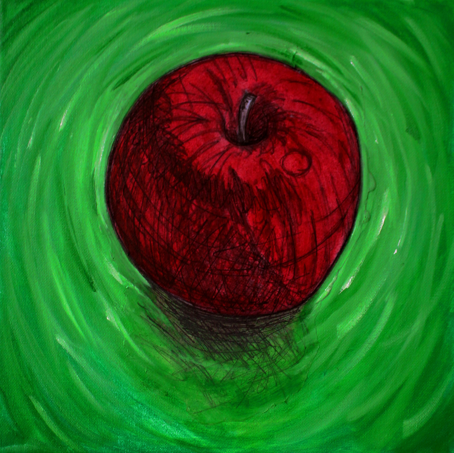 Red Apple on Green