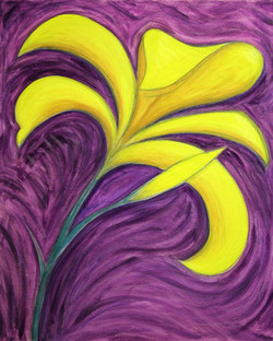 yellow lily on purple