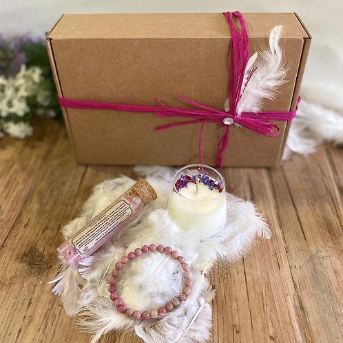 Coffret cadeau Bien-être Bougie fleurs séchées Bracelet Sel de bain