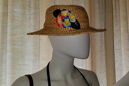 Water Hyacinth Hat with 4 Mixed Plumeria Flowers