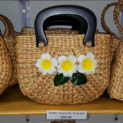 Water Hyacinth Bag with Wooden Handle