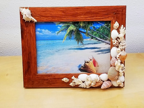 """Seashell Picture Frame 5x7"""" Wood"""