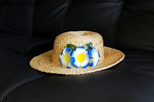 Water Hyacinth Hat with D3 Blue Plumeria Flowers