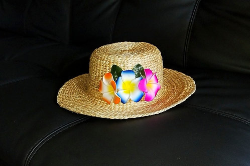 Water Hyacinth Hat with D3 Mix Plumeria Flowers
