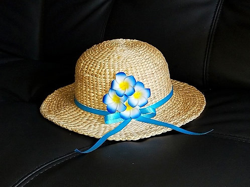 Water Hyacinth Hat with 4 Blue Plumeria Flowers w/ Ribbon