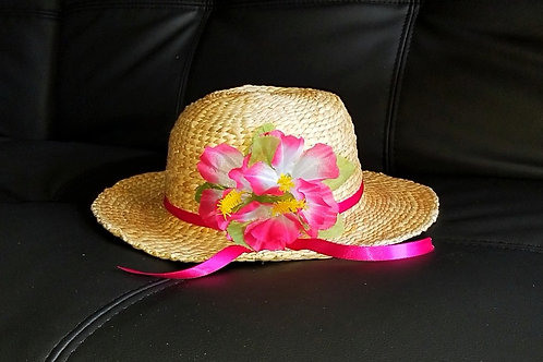 Water Hyacinth Hat with 3 Pink Hibiscus Flowers and Ribbon