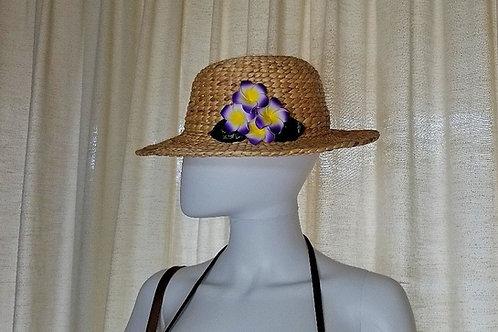 Water Hyacinth Hat with 4 Purple Plumeria Flowers