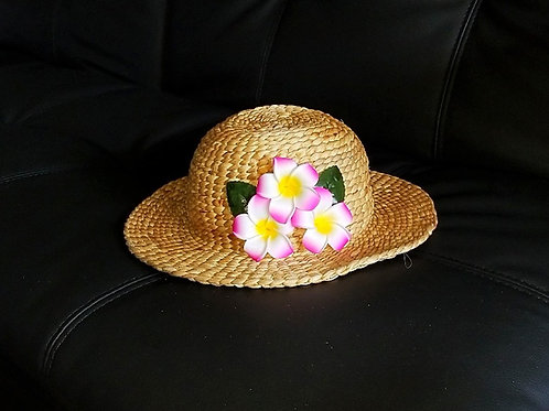 Water Hyacinth Hat with T3 Pink Plumeria Flowers
