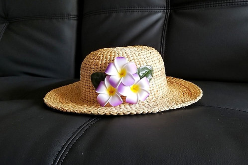 Water Hyacinth Hat with T3 Purple Plumeria Flowers