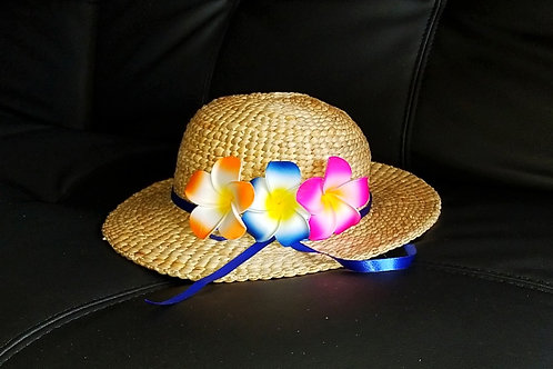 Water Hyacinth Hat with 3 Mixed Plumeria Flowers w/ Ribbon